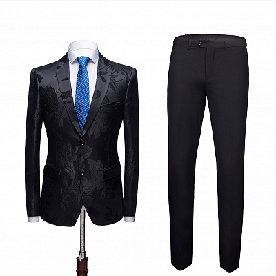 Stylish Notched Lapel Two Buttons Men's Suits | Floral Jacquard Black Wedding Tuxedos_3
