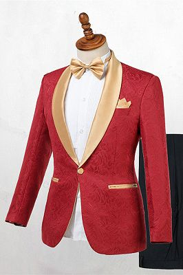Cooper Red Jacquard One Button Wedding Men Suits with Gold Lapel_1