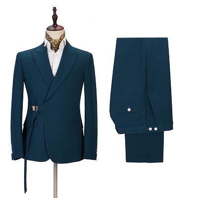 Alan Fashion Peaked Lapel Best Slim Formal Business Men Suits_3