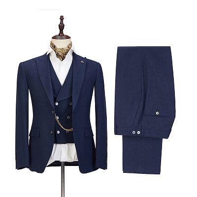 Cody Dark Blue Three-Piece Fashion Peaked Lapel Wedding Men Suits Sale_3