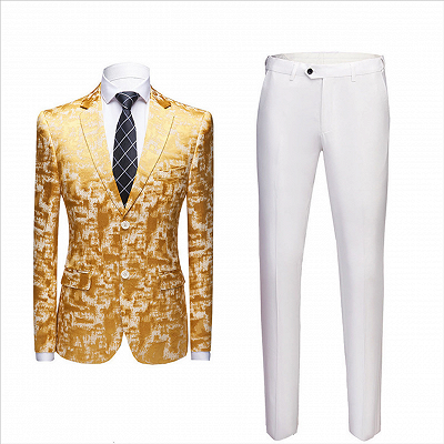 Special Printed Bright Gold Notched Lapel Men's Suits for Prom_2