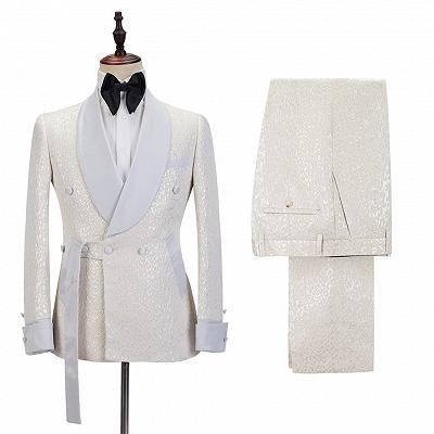 Patrick Off White Shawl Lapel Slim Fit Jacquard Bespoke Wedding Suits_4