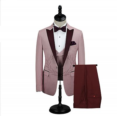 Burgundy Peak Lapel Men's Prom Suits | Latest Tailor Made Pink One Button Wedding Tuxedos_2