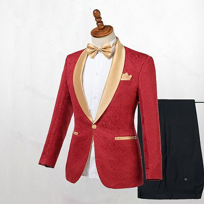 Cooper Red Jacquard One Button Wedding Men Suits with Gold Lapel_2
