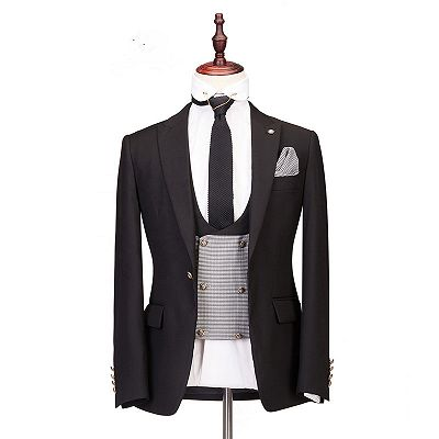 Collin Peaked Lapel Three-Piece Best Fitted Custom Made Men Suits for Wedding_3