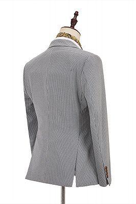 Fashion Black-and-White Plaid Slim Fit 3 Piece Men's Suit with Denim Blue Waistcoat_2