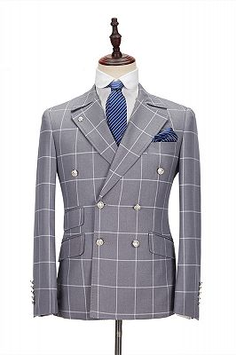 Silver Gray Plaid Peak Lapel Double Breasted Men's Formal Suit for Business_1