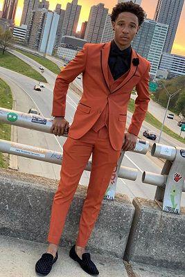 Issac Orange Three-Piece Slim Fit Prom Party Men Suits_1