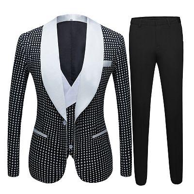 Shane Black Dot Slim Fit Shawl Lapel Wedding Tuxedo for Men_4