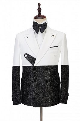 Kenneth White and Sparkle Double Breasted Fashion Slim Fit Prom Men Suits Online_1