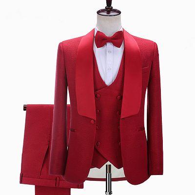 Steven Red Three-Piece Shawl Lapel Slim Fit Wedding Suits_2