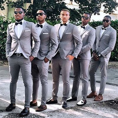 Jeremiah Gray Slim Fit One Button Cheap Groomsmen Suits for Wedding_2