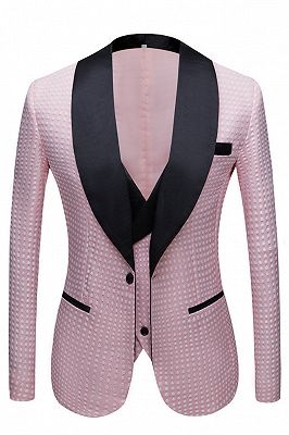 Hudson Pink Shawl Lapel Dot Custom Made Wedding Men Suits Online