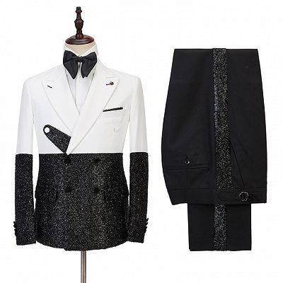 Kenneth White and Sparkle Double Breasted Fashion Slim Fit Prom Men Suits Online_2