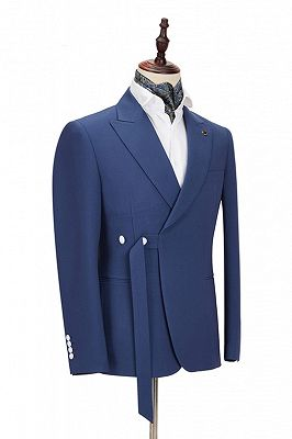 Kayden Newest Dark Blue Peaked Lapel Slim Fit Men Suits for Business_2