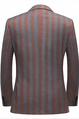 Red and Gray Stripes Formal Men's Suits | Modern Double Breasted Prom Suits_2