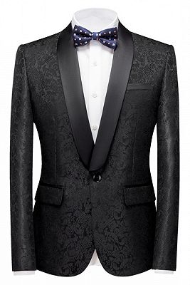 Colin Black Jacquard Classic Shawl Lapel Wedding Men Suits_1