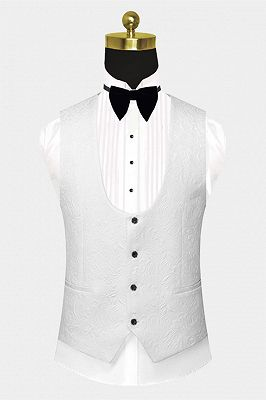Custom Made Popular Black Satin Lapel Jacquard White Wedding Suit Tuxedos - Ivan_2