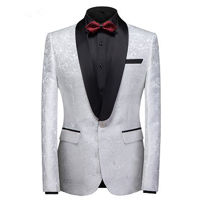 Victor White Jacquard One Buttons Custom Made Wedding Men Suits_4