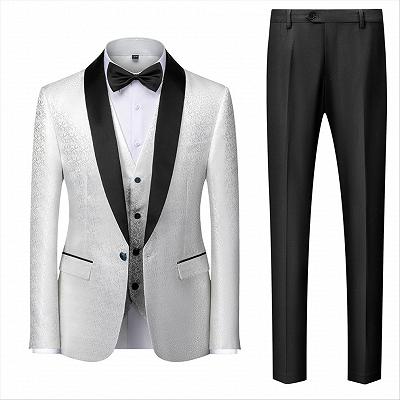 Gentle Black and White Men's Wedding Tuxedos | Satin Shawl Lapel Jacquard Prom Suits_2