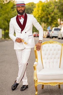 Bryan White Jacquard Double Breasted Wedding Suit with Burgundy Lapel_1