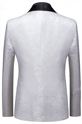 Victor White Jacquard One Buttons Custom Made Wedding Men Suits_2