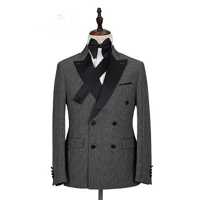 Grant Black Plaid Peaked Lapel Double Breasted Men Suits_4
