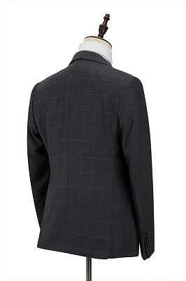 Classic Dark Gray Plaid Peak Lapel 3 Piece Men's Suit with Double Breasted Waistcoat_2