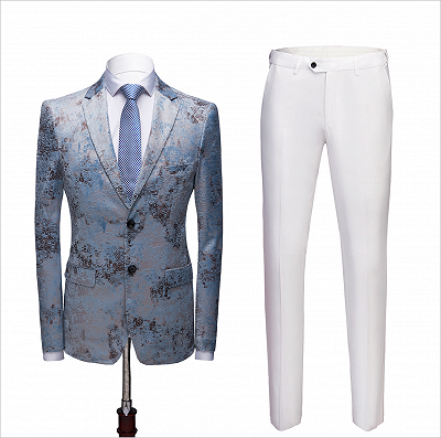 Printing Men's Prom Suits | Blue Wedding Tuxedos with White Pants_2