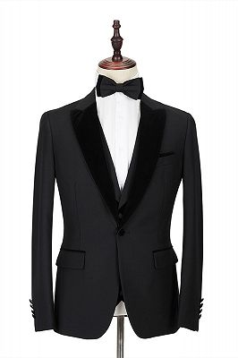 2 Piece Velvet Peak Lapel Classic Black Groom's Wedding Suit Tuxedos Cheap Onnline_1