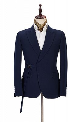 Maxwell Custom Made Navy Blue Peaked Lapel Cheap Men Suits Online_1