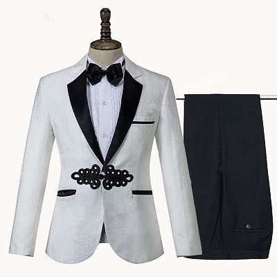 Devin White Jacquard Knitted Button Fashion Wedding Suit_3