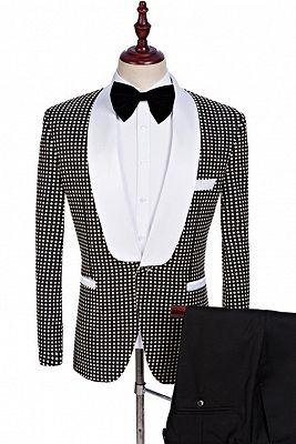 Black and White Shawl Lapel Wedding Suits | Fashion Dot Prom Tuxedo_1