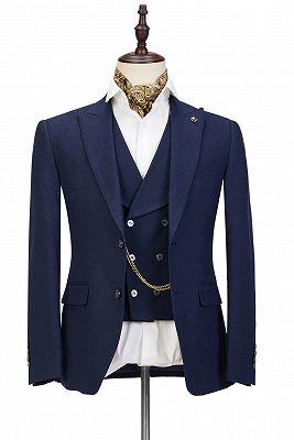 Cody Dark Blue Three-Piece Fashion Peaked Lapel Wedding Men Suits Sale_1