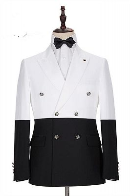 Jorge Simple White and Black Double Breasted Custom Made Men Suits Online_1