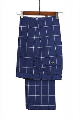 Dark Blue Three Flap Pockets Double Breasted Plaid Men's Formal Suit for Business_4