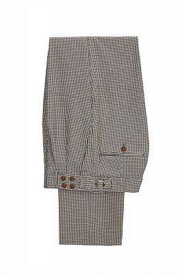 Light Khaki Notch Lapel 3 Piece Men's Suit with Dark Coffee Waistcoat_4