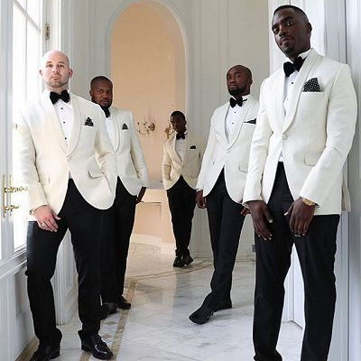 Julian White One Button Shawl Lapel Groomsmen Suits Online_2