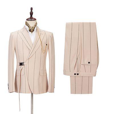 Ivan Light Champagne Fashion Striped Peaked Lapel Prom Men Suits_2