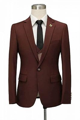 Javier Burgundy Notched Lapel Fitted Men Suits for Prom_1