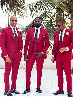 Custom Made Red Slim Fit Peaked Lapel Wedding Groomsmen Suit with 3 Pieces_1
