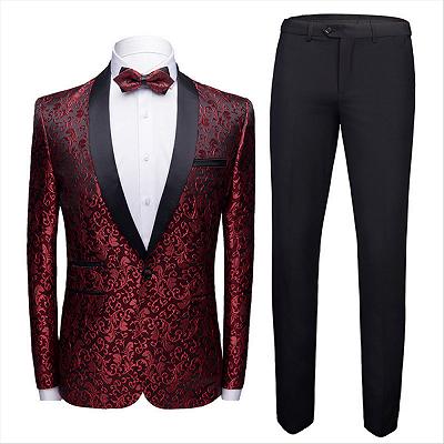 Modern Burgundy Jacquard Wedding Tuxedos | Shawl Lapel Black Satin Men's Prom Suits Cheap-Toby_2