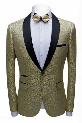 Chic Black Satin Shawl Lapel Prom Suits | Gold Jacquard Men's Wedding Tuxedos - Terence_1