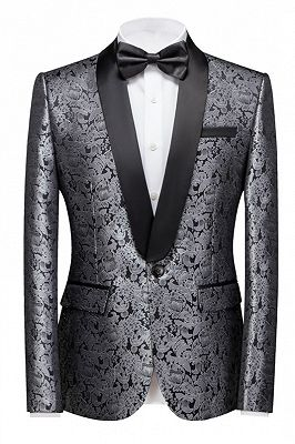 Levi Silver Shawl Lapel Stylish One Button Jacquard Weddig Tuxedo for Men_1