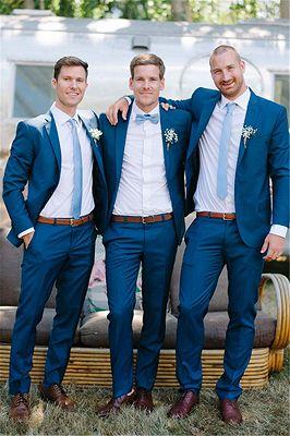 Hayden Navy Blue Cheap Notched Lapel Slim Fit Wedding Groomsmen Suit_1