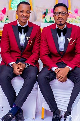 Chase Fashion Red Peaked Lapel One Buttons Groomsmen Suit for Wedding_1