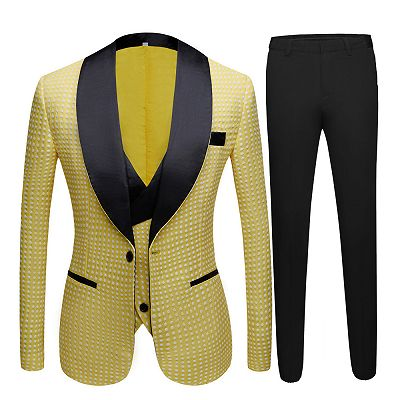 Travis Yellow Dot Shawl Lapel Cheap Wedding Groom Suits for Sale_4