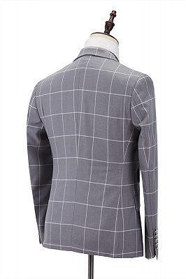 Silver Gray Plaid Peak Lapel Double Breasted Men's Formal Suit for Business_2