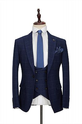 Classic Blue Plaid Peak Lapel Tailor Made 3 Piece Men's Suit with Double Breasted Waistcoat