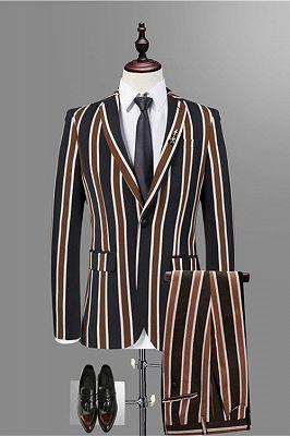 Jeremy Stylish Black Striped Men Suits for Prom_1